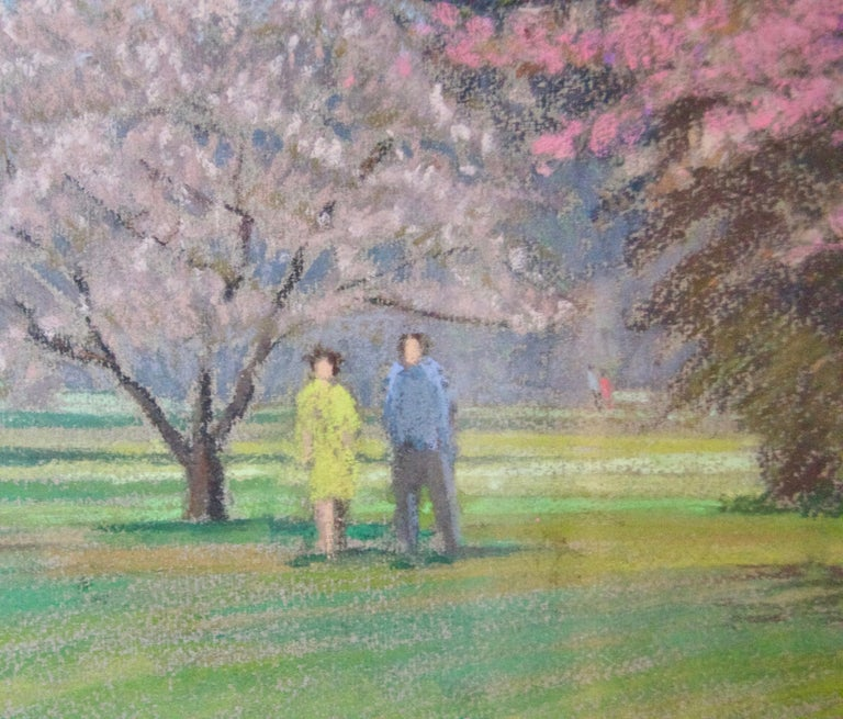 Apple Blossom Tree Park - Mid 20th Century Impressionist Landscape Oil by Innes - Brown Landscape Painting by William Henry Innes