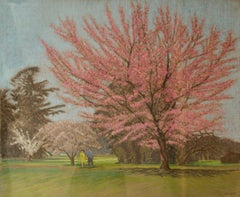 Apple Blossom Tree Park - Mid 20th Century Impressionist Landscape Oil by Innes