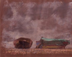 Boats on the Beach - Mid 20th Century Impressionist Oil Pastel on Paper by Innes