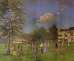 Country Celebration - Mid 20th Century Impressionist Oil Piece of Manor House