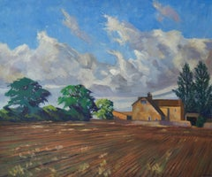 English Farmhouse - Mid 20th Century Impressionist Oil by William Henry Innes
