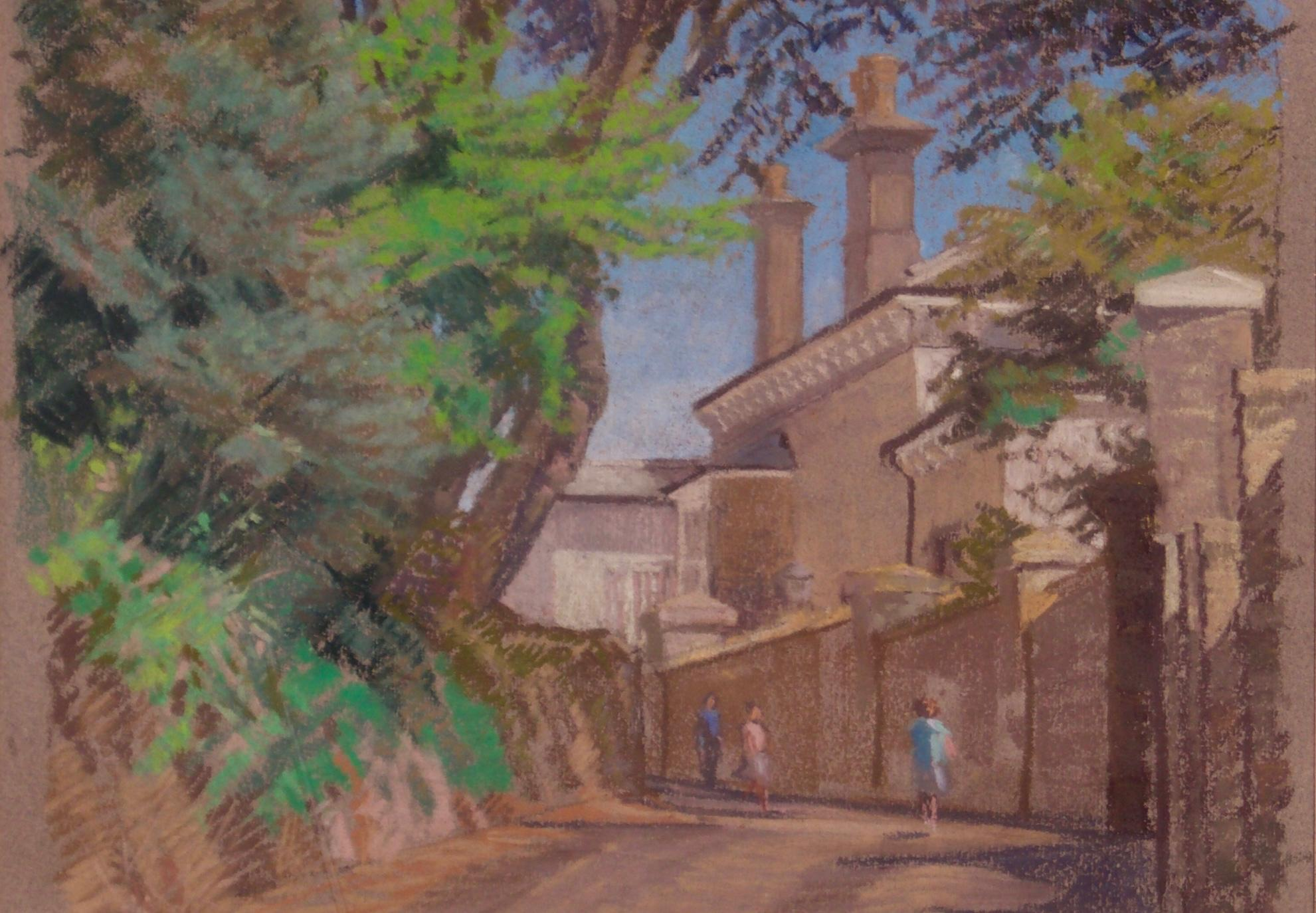 English Town - Mid - Late 20th Century Impressionist Oil Pastel Town by Innes