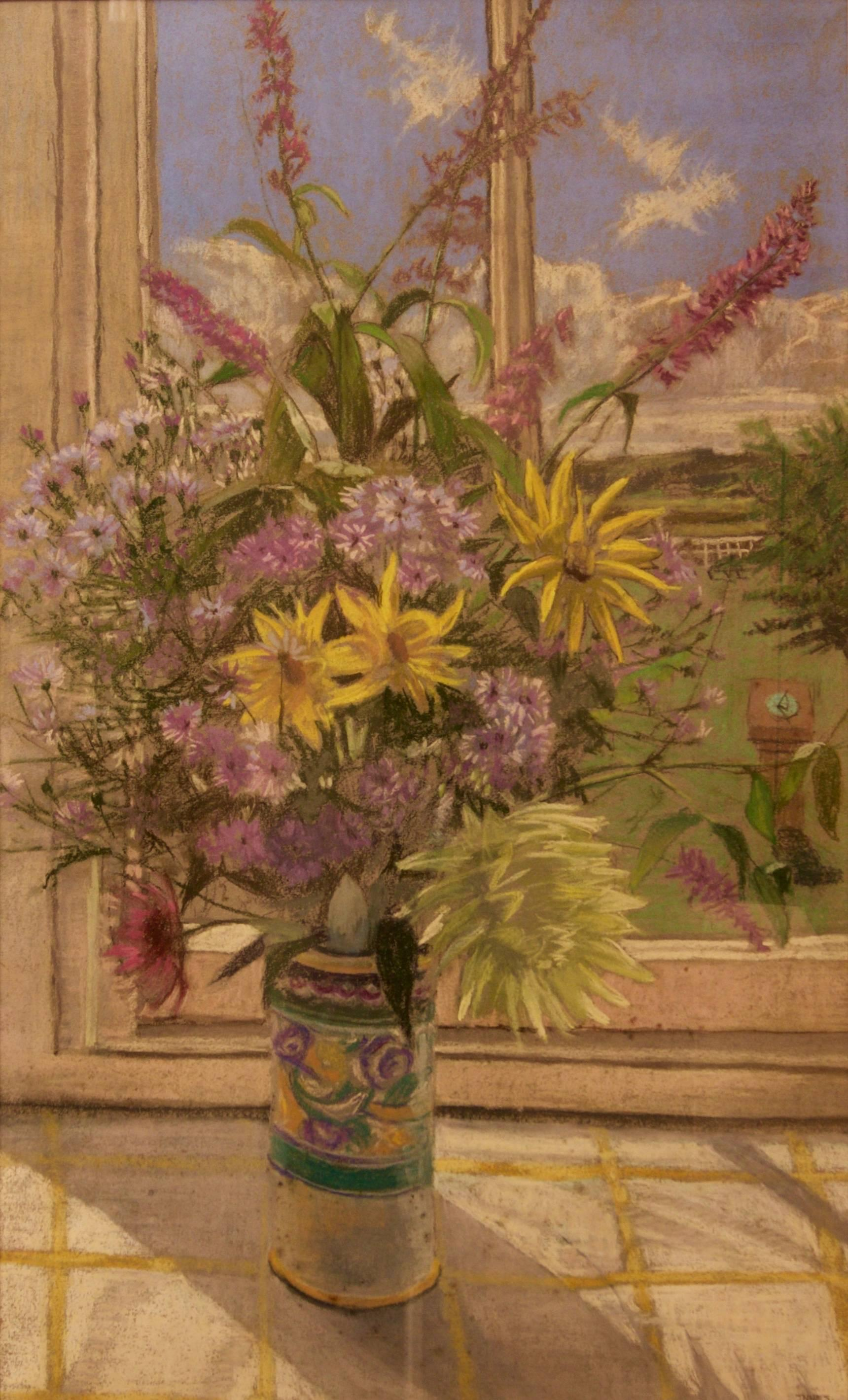 Flowers By My Window - 20th Century Still Life Pastel by William Henry Innes