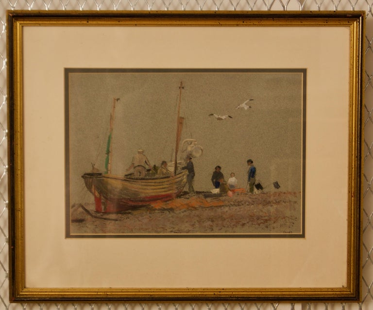 Grey Day At Eastbourne - Mid 20th Century Impressionist Oil Pastel of a Boat  - Painting by William Henry Innes