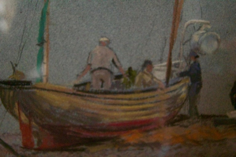 Grey Day At Eastbourne - Mid 20th Century Impressionist Oil Pastel of a Boat  - Brown Landscape Painting by William Henry Innes