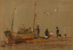 Grey Day At Eastbourne - Mid 20th Century Impressionist Oil Pastel of a Boat