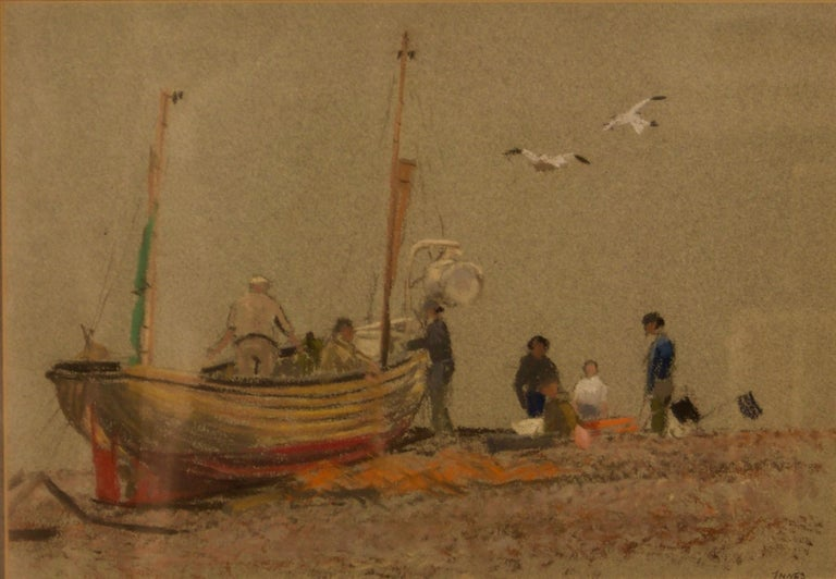 William Henry Innes Landscape Painting - Grey Day At Eastbourne - Mid 20th Century Impressionist Oil Pastel of a Boat