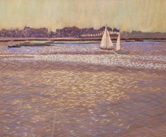 Light on the Water - Mid 20th Century Impressionist Oil Pastel by William Innes