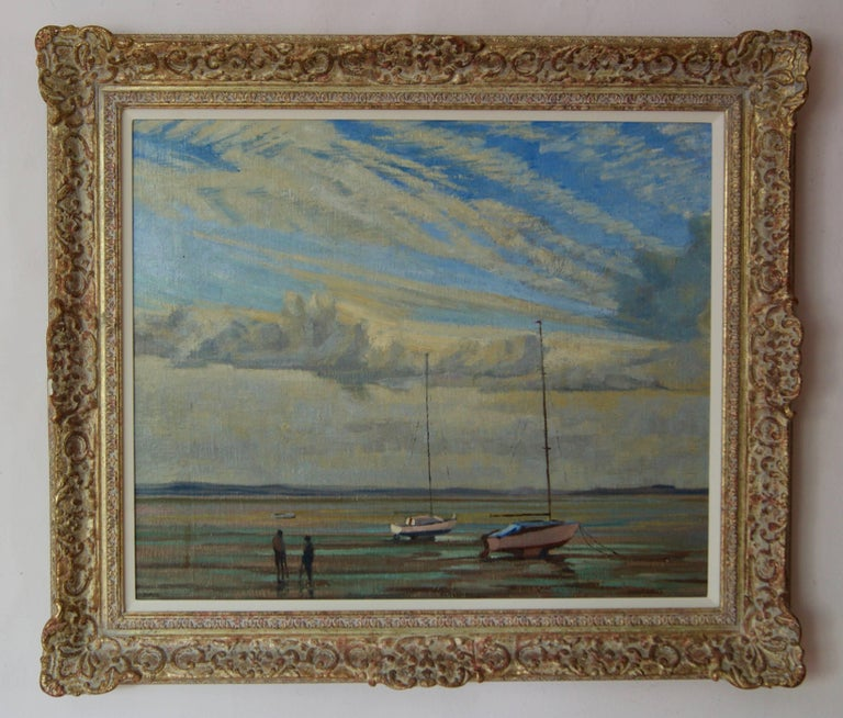 Moored Sailing Boats - Mid 20th Century Impressionist Oil by William Henry Innes For Sale 1