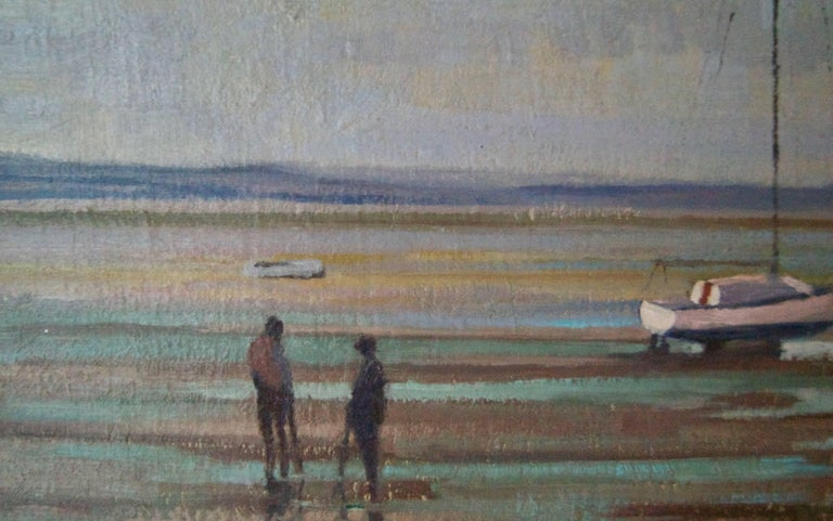 Moored Sailing Boats - Mid 20th Century Impressionist Oil by William Henry Innes For Sale 3