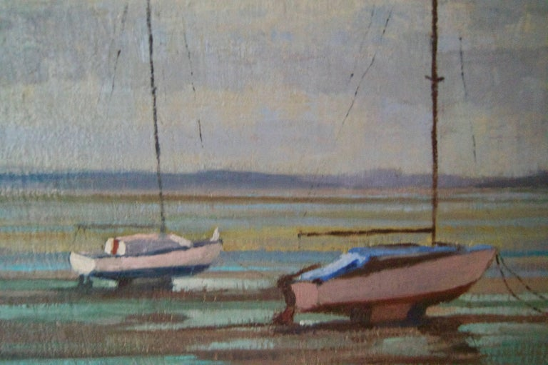 Moored Sailing Boats - Mid 20th Century Impressionist Oil by William Henry Innes For Sale 4
