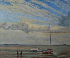 Moored Sailing Boats - Mid 20th Century Impressionist Oil by William Henry Innes