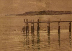 Pier - Mid 20th Century Impressionist Oil Pastel on Paper by William Henry Innes