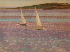 Sail Boats by the Shore - Mid 20th Century Pastel Landscape by William Innes