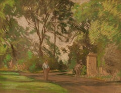 Pathway through the Garden - Mid 20th Century Pastel by William Henry Innes