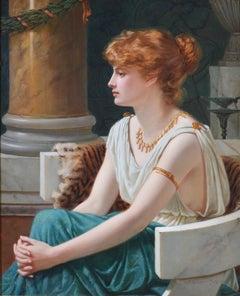 Poppaea Sabina - 19th Century Neoclassical Portrait Oil Painting Roman Empress