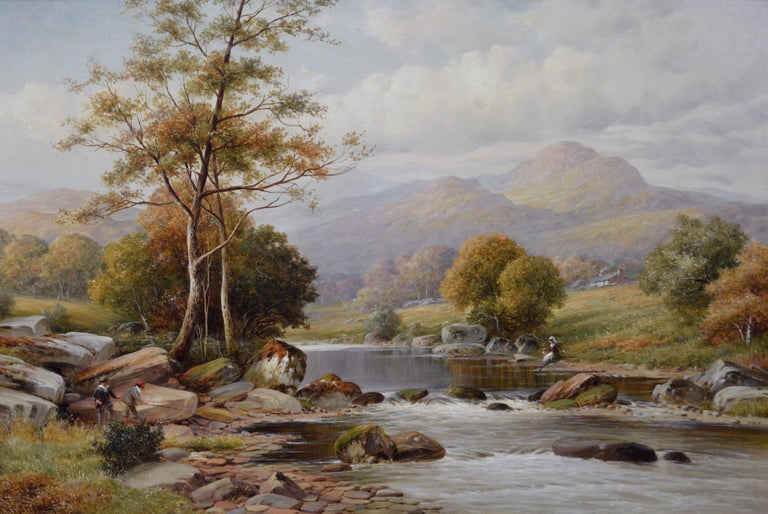 19th Century river landscape oil painting - Painting by William Henry Mander