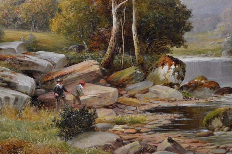 19th Century river landscape oil painting - Victorian Painting by William Henry Mander