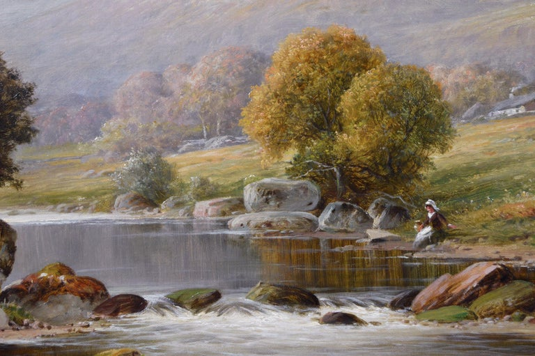 19th Century river landscape oil painting - Brown Landscape Painting by William Henry Mander