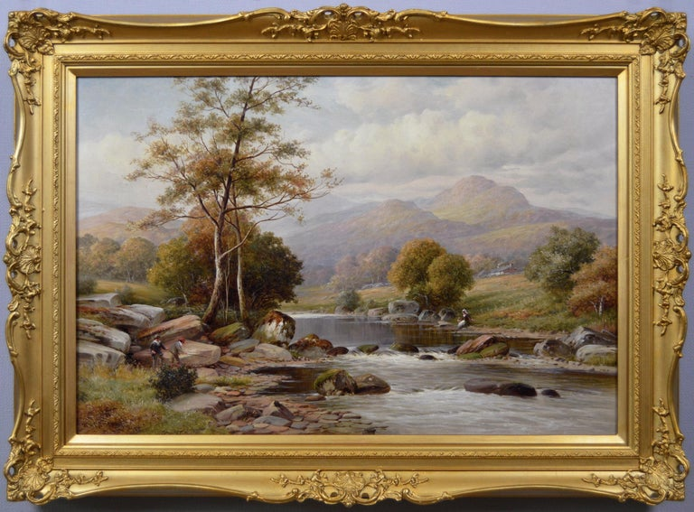 William Henry Mander Landscape Painting - 19th Century river landscape oil painting