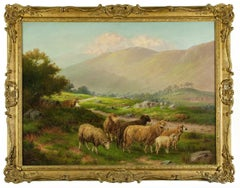 Oil Painting Landscape with Sheep.