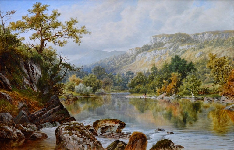 A large fine 19th century oil on canvas depicting a young boy and girl and dog playing by the riverside in 'The Lledr Valley, North Wales' by the eminent Victorian landscape painter William Henry Mander (1850-1922). The painting is signed by the