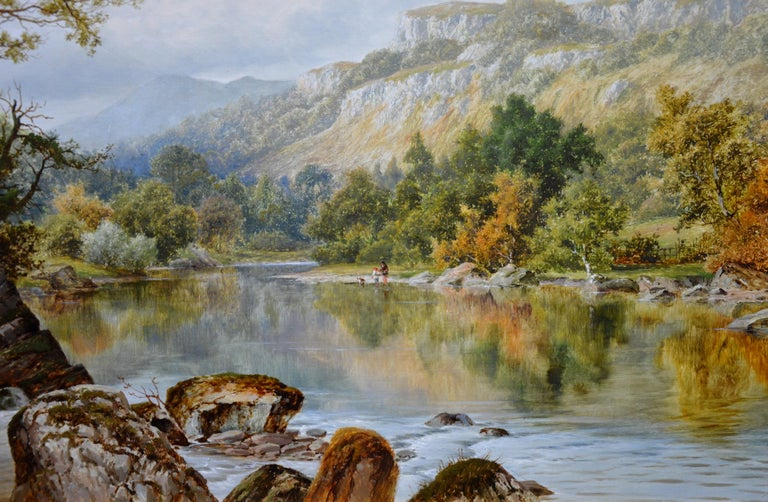 The Lledr Valley, North Wales - 19th Century River Landscape Oil Painting  For Sale 1