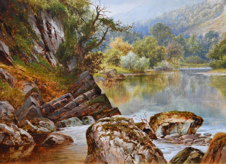 The Lledr Valley, North Wales - 19th Century River Landscape Oil Painting  For Sale 3
