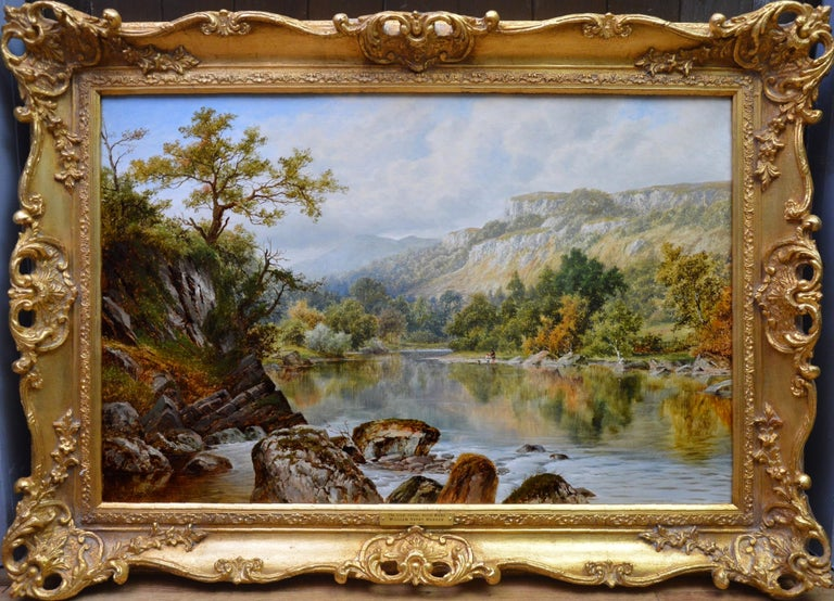 William Henry Mander Landscape Painting - The Lledr Valley, North Wales - 19th Century River Landscape Oil Painting