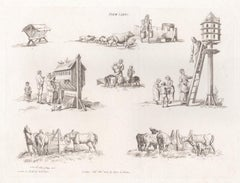 Farm Yards, early 19th century sepia soft ground etching, 1805