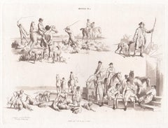 Hunting, early 19th century sepia soft ground etching, 1805