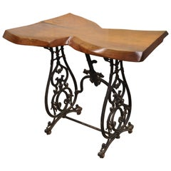 William Herrick Cast Iron Sewing Machine Base Desk Console Table Live Edge Top