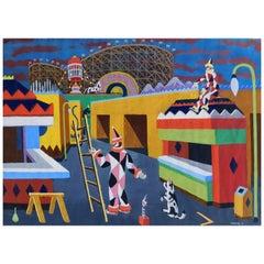 William Hesthal Original Watercolor, 1939, Surreal Whimsical Circus Scene