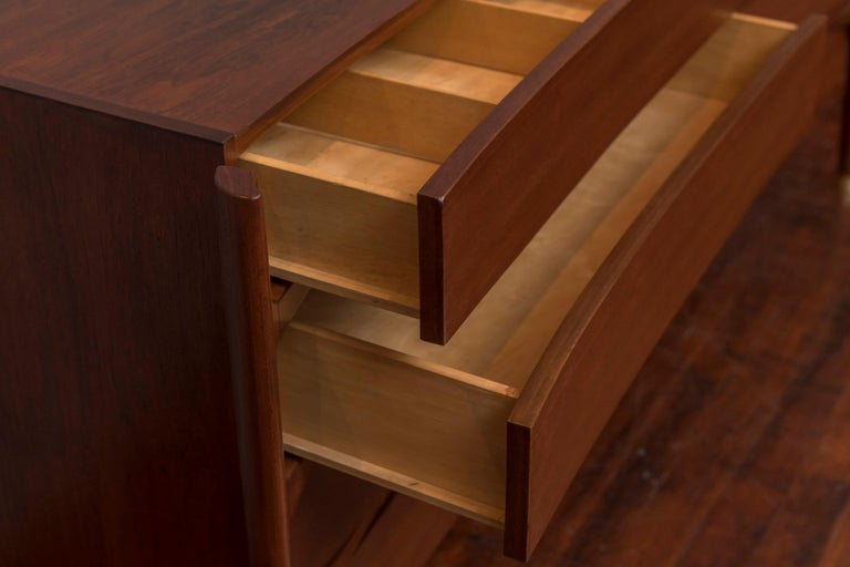 William Hinn for Urban Furniture Sculptural Walnut Eight-Drawer Dresser In Good Condition For Sale In San Francisco, CA