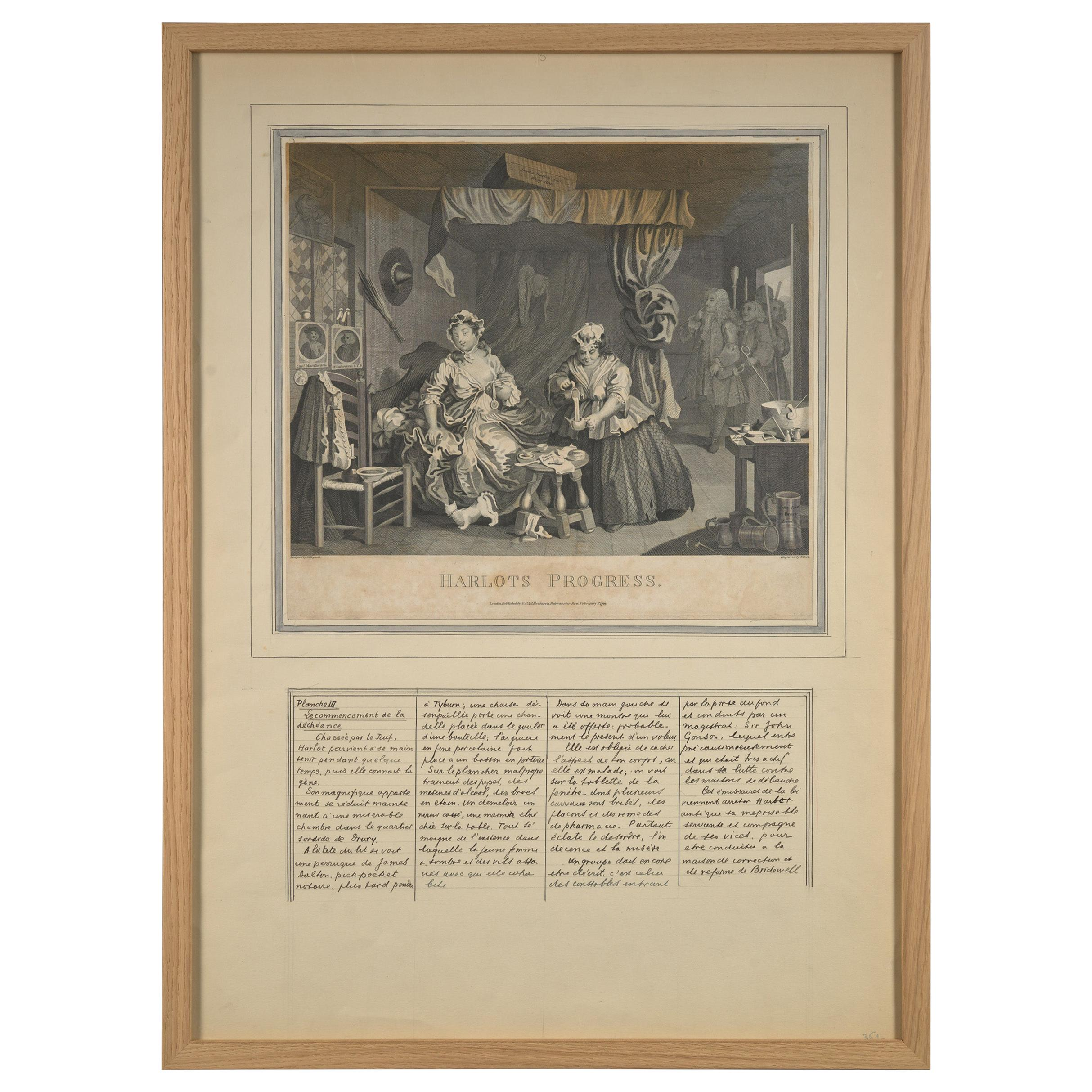 William Hogarth, Harlot's Progress, Litographs with French Comments