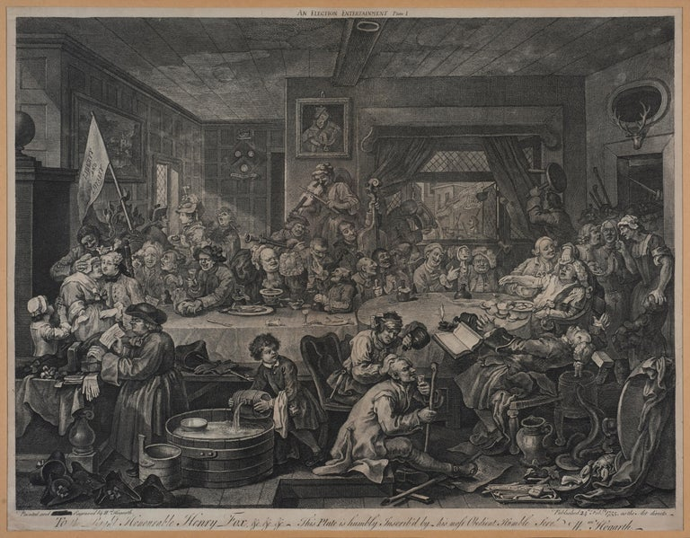 An Election Entertainment is an original etching realized by William Hogarth in 1755. The etching was engraved also by Francois Morellon de la Cave.  Original title: An Election Entertainment, Plate I: Four Prints of an Election.  Signature on