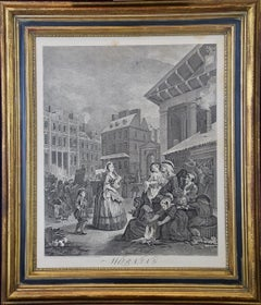 "Four Framed Engravings from William Hogarth's ""Four Times of the Day"" Series"