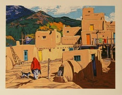 Taos Pueblo hand pulled serigraph by William Hook