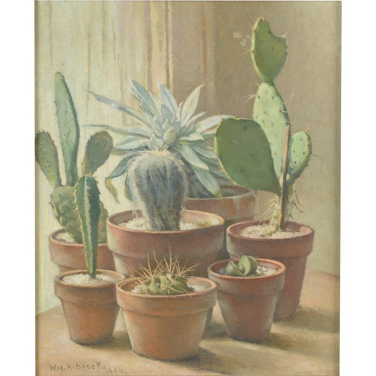 William Hubacek (American 1871-1958) Cactus Plants Oil on canvas Signed and dated lower left: 'Wm. Hubacek 1946' 18.75in H x 15.5in L  With a gilt frame: 21in H x 17.5in L A Bay Area local, Hubacek is a highly competent painter of still lifes and