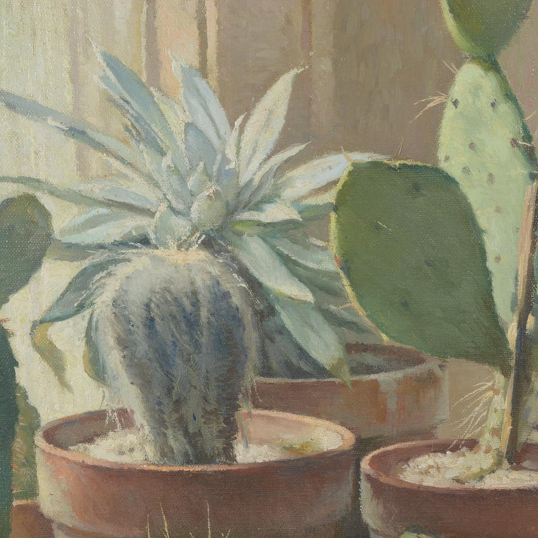 William Hubacek 'Cactus Plants' Still Life, Oil Painting For Sale 2