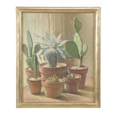 William Hubacek 'Cactus Plants' Still Life, Oil Painting