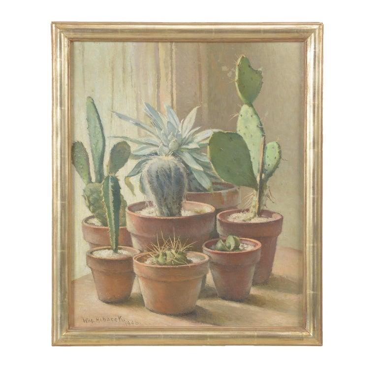 William Hubacek 'Cactus Plants' Still Life, Oil Painting - Brown Still-Life Painting by William Hubacek