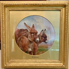 19th century Victorian Mother Donkey with her foal