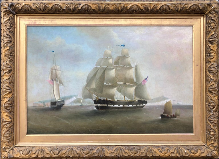 William John Huggins (1781-1845) A Ship in Two Positions Off Dover  oil on canvas 33 x 45 inches, inc. frame  William John Huggins, of whose parents nothing is known, reputedly began life as a sailor in the East India Company, but his only known