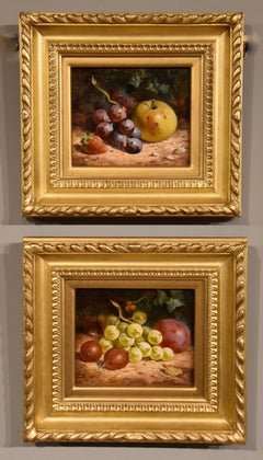 """Oil Painting Pair by William Hughes """"White Grapes"""" and """"Black Grapes"""""""