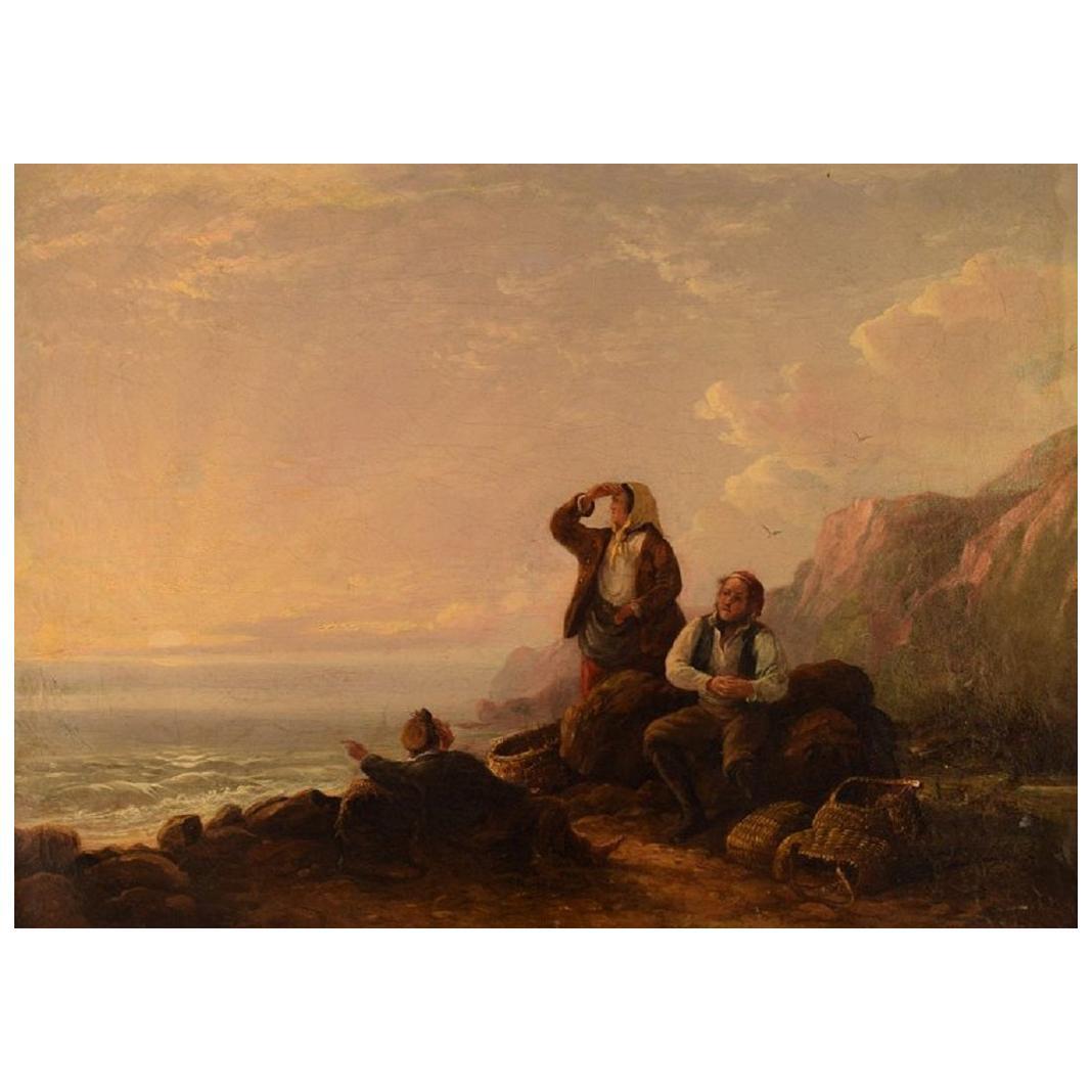 William I Shayer Oil on Canvas, Rocky Coast with Seashell Gatherers