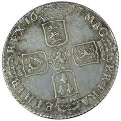 William III 1697 Original Shilling Coin Very Fine Plus Toned