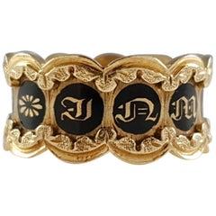 William IV 18 Karat Gold and Enamel Memorial Mourning Band Ring, 1832