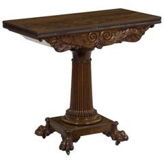 William IV Antique Carved Mahogany Game Card Table, England, 19th Century
