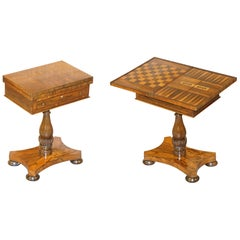 William IV Fully Restored Hardwood Games Table Chess Backgammon Cribbage Board